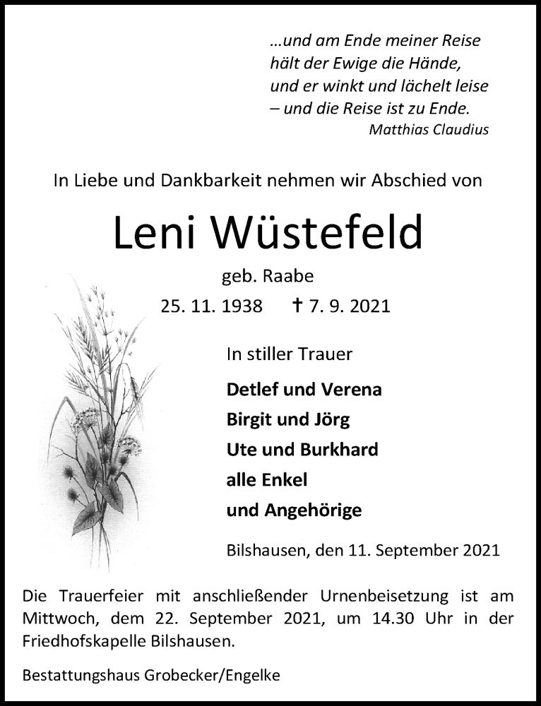 Traueranzeige für Leni Wüstefeld vom 11.09.2021 aus Göttinger Tageblatt