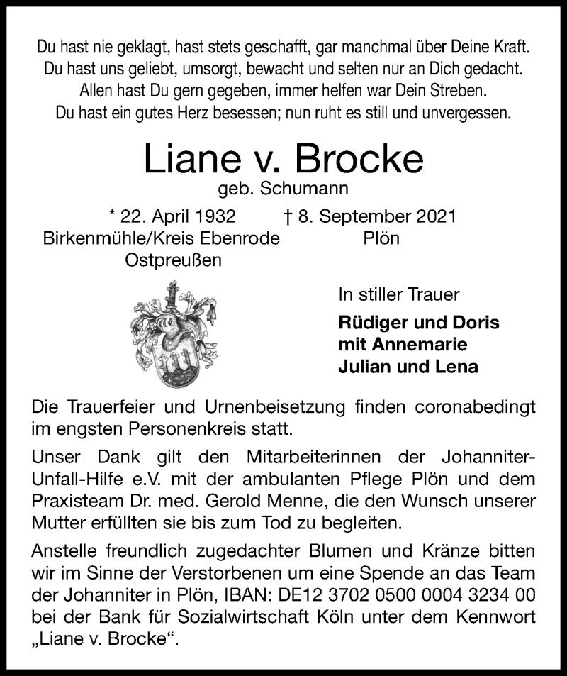 Traueranzeige für Liane v. Brocke vom 11.09.2021 aus Kieler Nachrichten