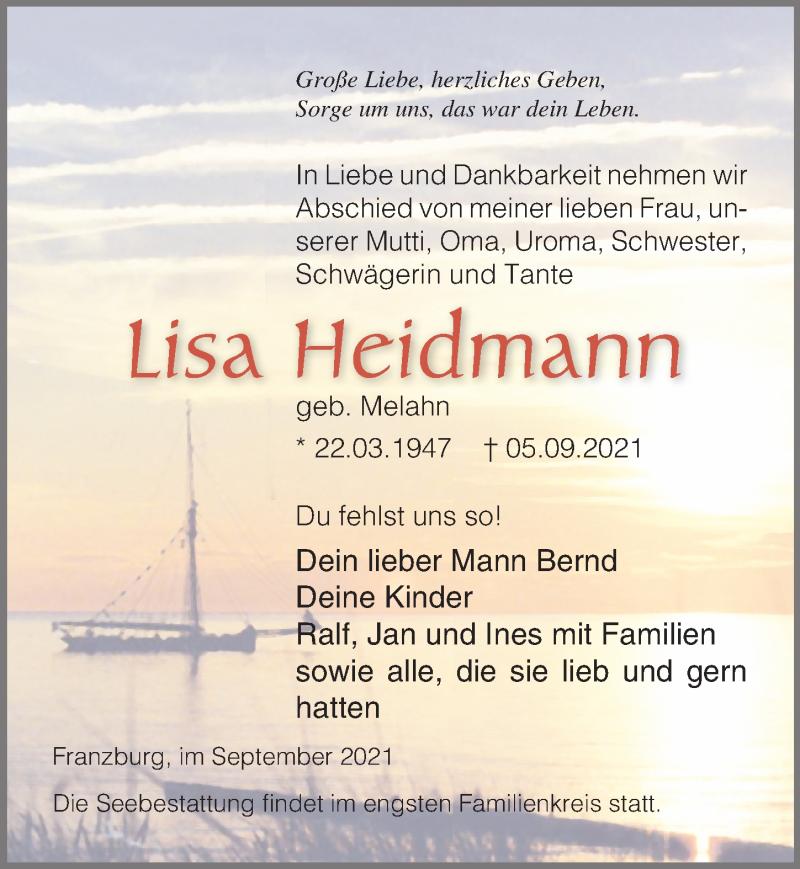 Traueranzeige für Lisa Heidmann vom 11.09.2021 aus Ostsee-Zeitung GmbH