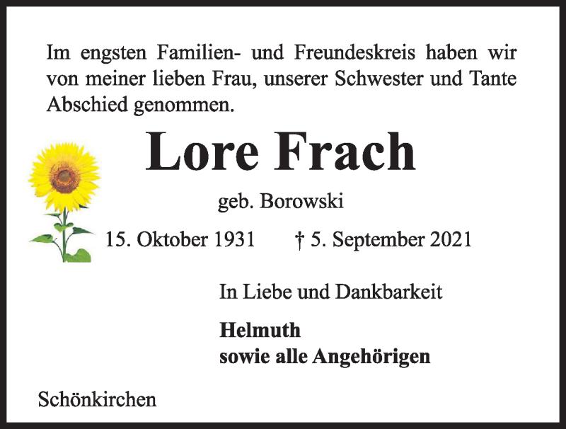 Traueranzeige für Lore Frach vom 11.09.2021 aus Kieler Nachrichten