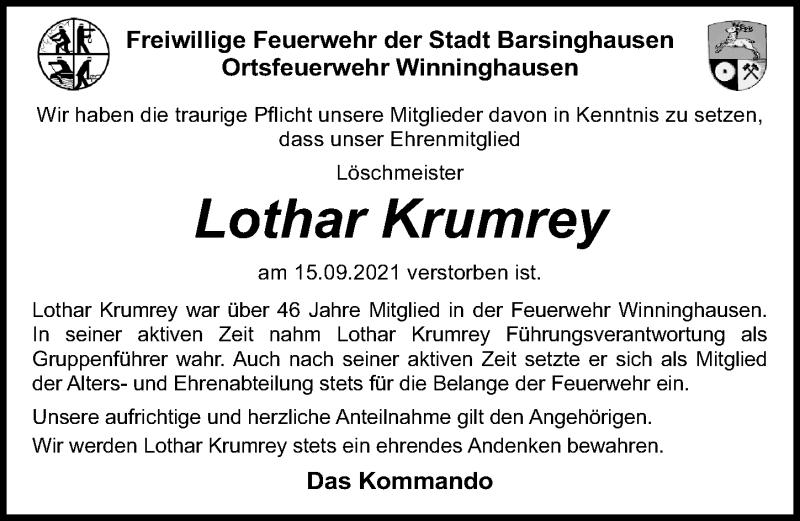 Traueranzeige für Lothar Krumrey vom 25.09.2021 aus Hannoversche Allgemeine Zeitung/Neue Presse