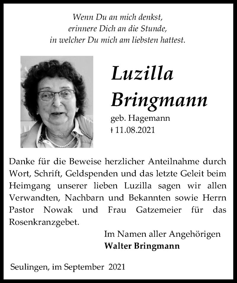 Traueranzeige für Luzilla Bringmann vom 04.09.2021 aus Eichsfelder Tageblatt