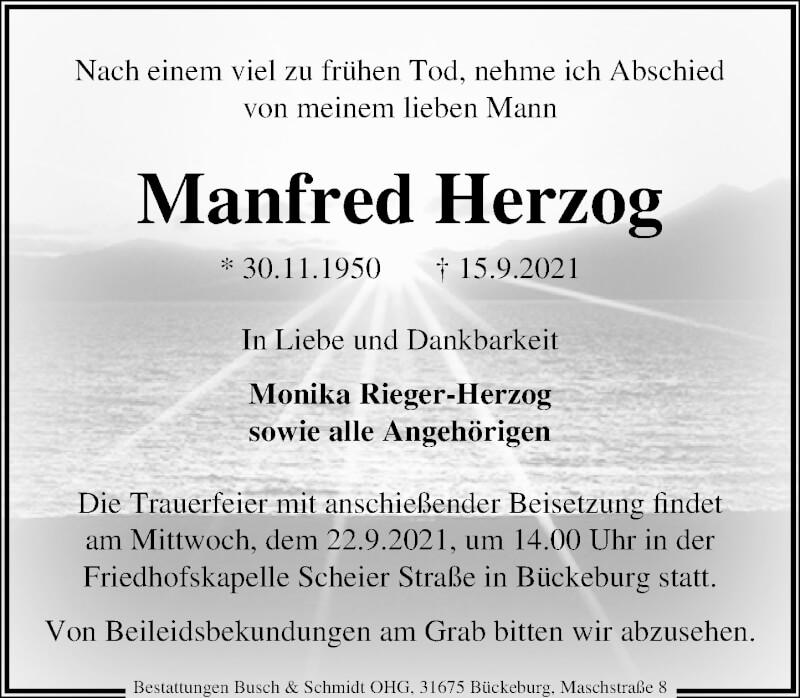 Traueranzeige für Manfred Herzog vom 18.09.2021 aus Schaumburger Nachrichten