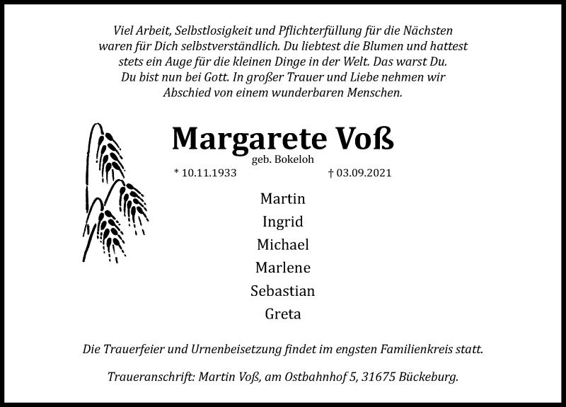 Traueranzeige für Margarete Voß vom 10.09.2021 aus Schaumburger Nachrichten