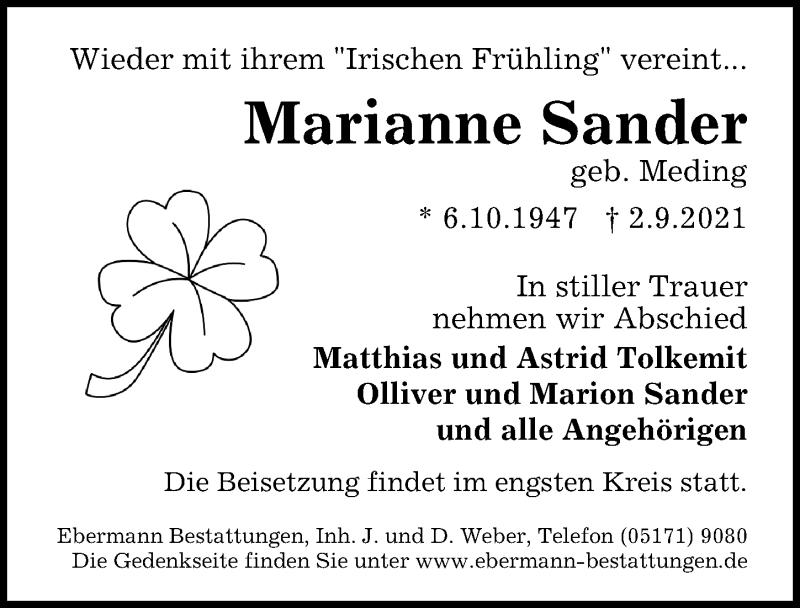 Traueranzeige für Marianne Sander vom 11.09.2021 aus Peiner Allgemeine Zeitung