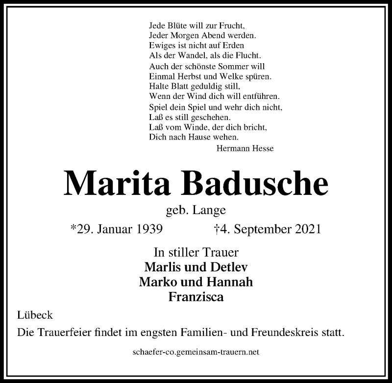 Traueranzeige für Marita Badusche vom 12.09.2021 aus Lübecker Nachrichten