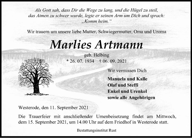 Traueranzeige für Marlies Artmann vom 11.09.2021 aus Eichsfelder Tageblatt