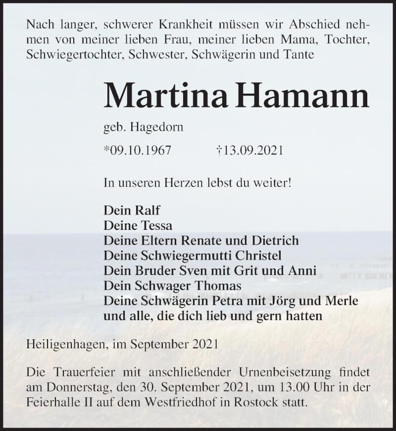 Traueranzeige für Martina Hamann vom 18.09.2021 aus Ostsee-Zeitung GmbH