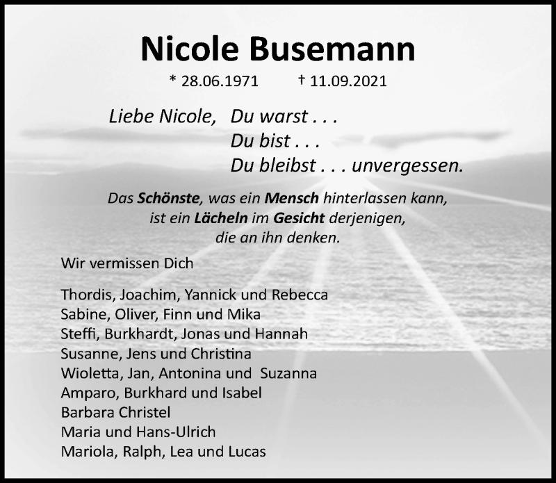 Traueranzeige für Nicole Busemann vom 26.09.2021 aus Lübecker Nachrichten