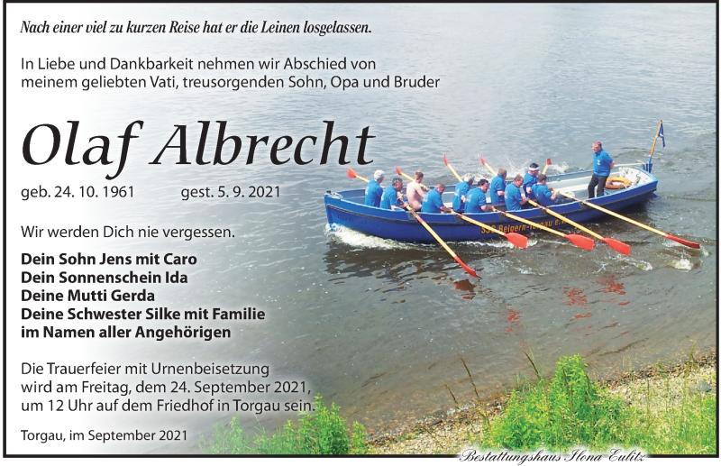 Traueranzeige für Olaf Albrecht vom 11.09.2021 aus Torgauer Zeitung
