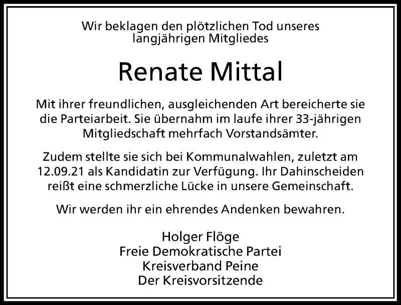 Traueranzeige für Renate Mittal vom 15.09.2021 aus Peiner Allgemeine Zeitung