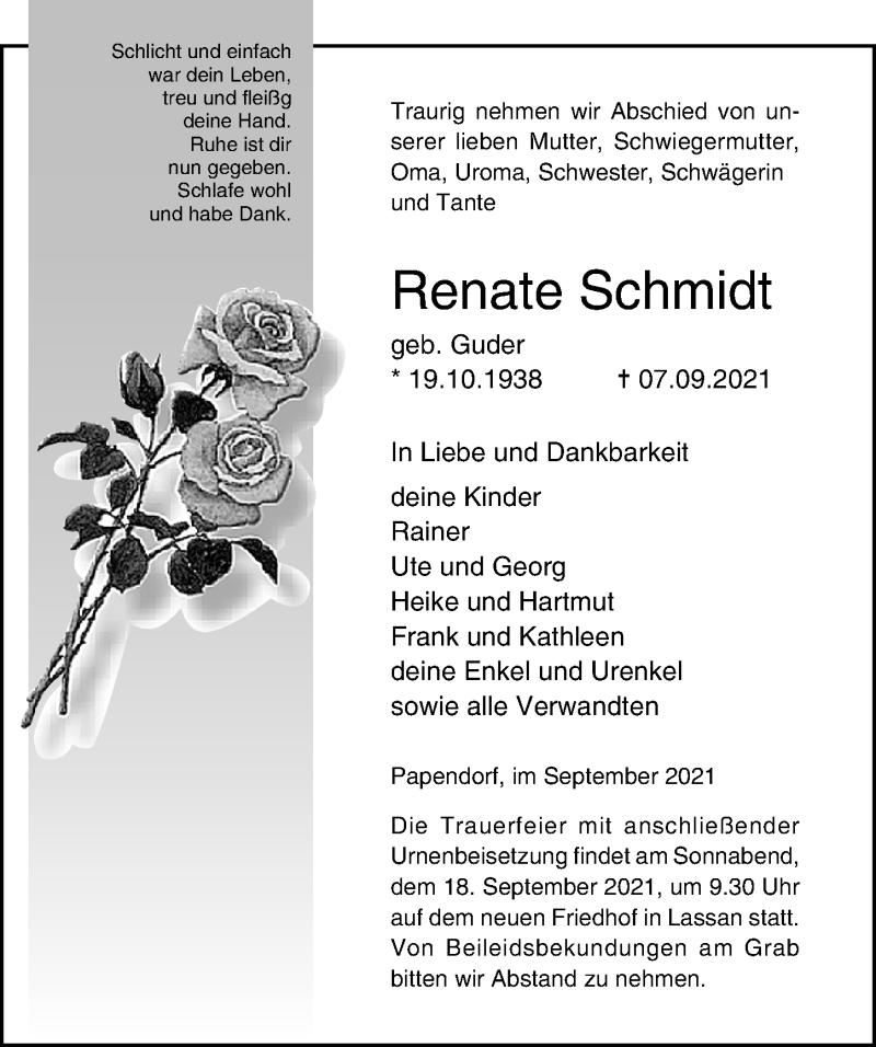 Traueranzeige für Renate Schmidt vom 11.09.2021 aus Ostsee-Zeitung GmbH