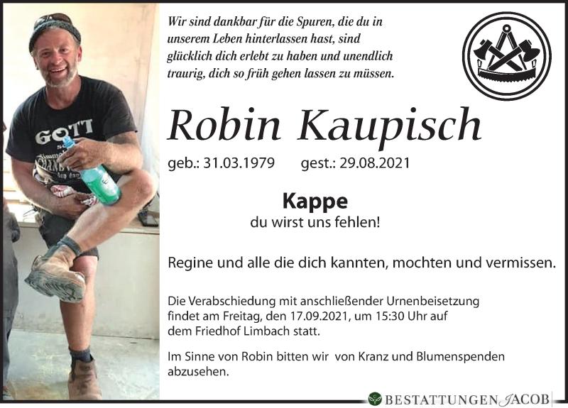 Traueranzeige für Robin Kaupisch vom 11.09.2021 aus Leipziger Volkszeitung