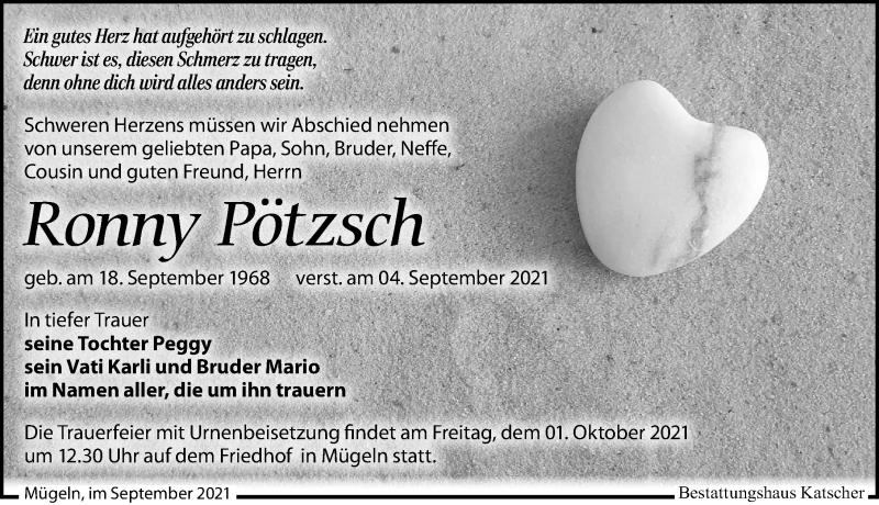 Traueranzeige für Ronny Pötzsch vom 11.09.2021 aus Leipziger Volkszeitung