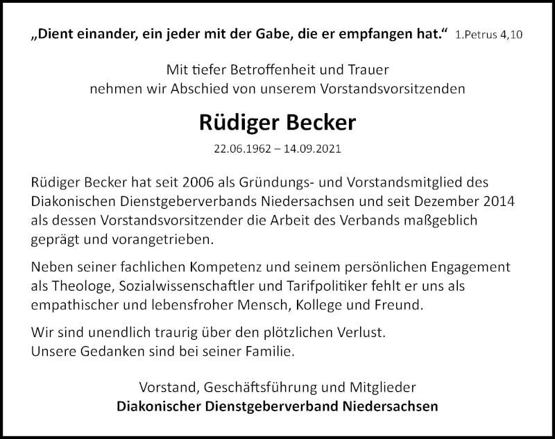 Traueranzeige für Rüdiger Becker vom 20.09.2021 aus Hannoversche Allgemeine Zeitung/Neue Presse