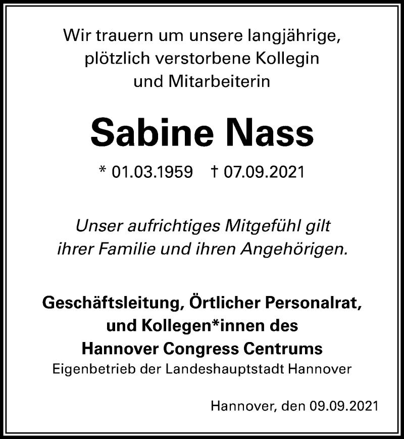 Traueranzeige für Sabine Nass vom 11.09.2021 aus Hannoversche Allgemeine Zeitung/Neue Presse