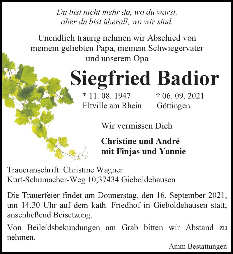 Traueranzeige für Siegfried Badior vom 15.09.2021 aus Göttinger Tageblatt