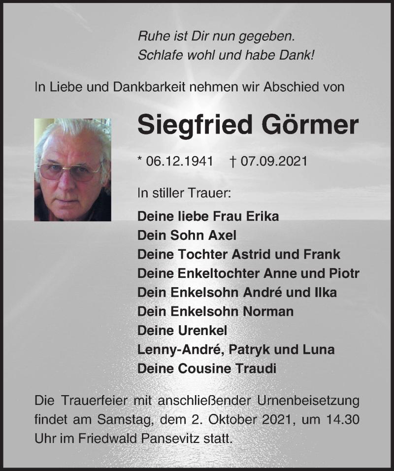 Traueranzeige für Siegfried Görmer vom 11.09.2021 aus Ostsee-Zeitung GmbH