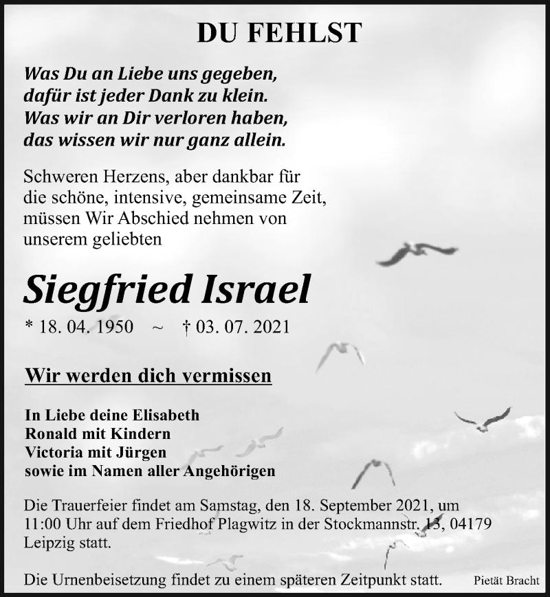 Traueranzeige für Siegfried Israel vom 04.09.2021 aus Leipziger Volkszeitung