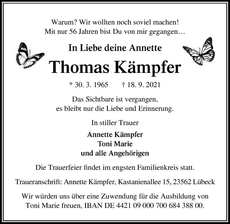 Traueranzeige von  Thomas Kämpfer