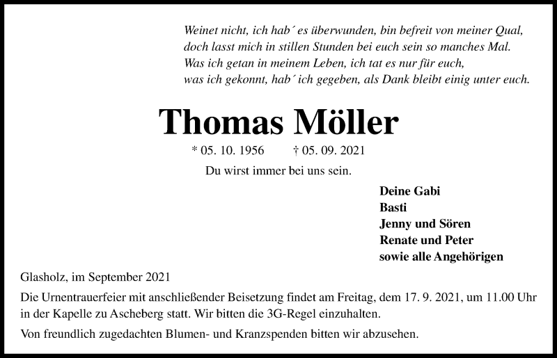 Traueranzeige für Thomas Möller vom 11.09.2021 aus Kieler Nachrichten