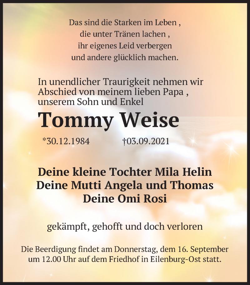 Traueranzeige für Tommy Weise vom 11.09.2021 aus Leipziger Volkszeitung