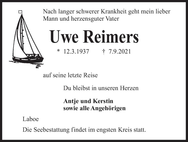 Traueranzeige für Uwe Reimers vom 11.09.2021 aus Kieler Nachrichten
