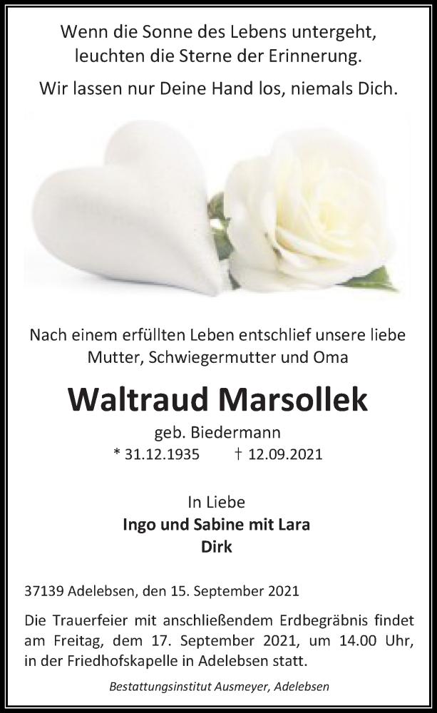 Traueranzeige für Waltraud Marsollek vom 15.09.2021 aus Göttinger Tageblatt