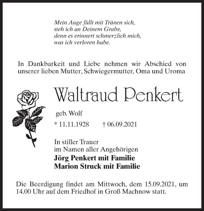 Traueranzeige für Waltraud Penkert vom 11.09.2021 aus Märkischen Allgemeine Zeitung