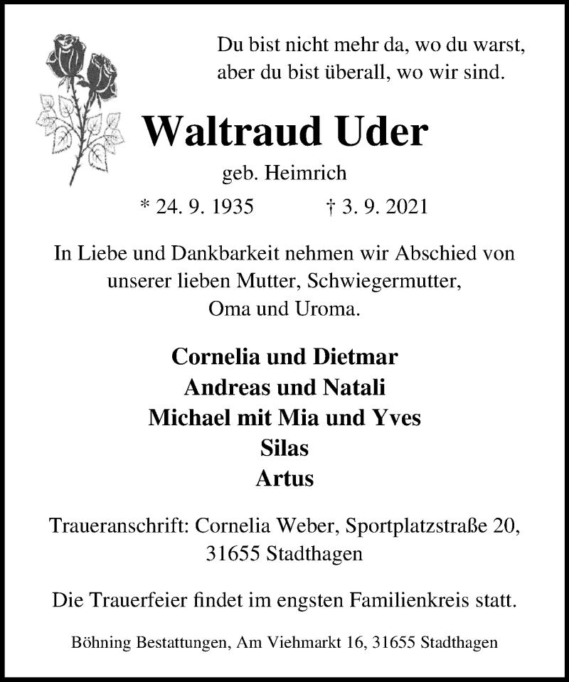 Traueranzeige für Waltraud Uder vom 08.09.2021 aus Schaumburger Nachrichten