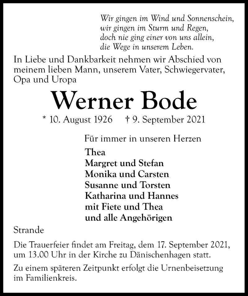 Traueranzeige für Werner Bode vom 15.09.2021 aus Kieler Nachrichten