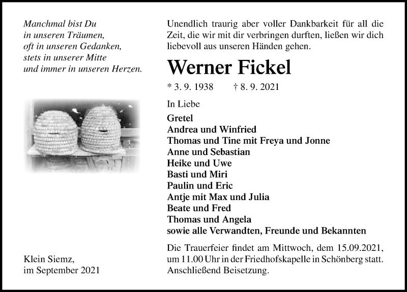 Traueranzeige für Werner Fickel vom 13.09.2021 aus Ostsee-Zeitung GmbH