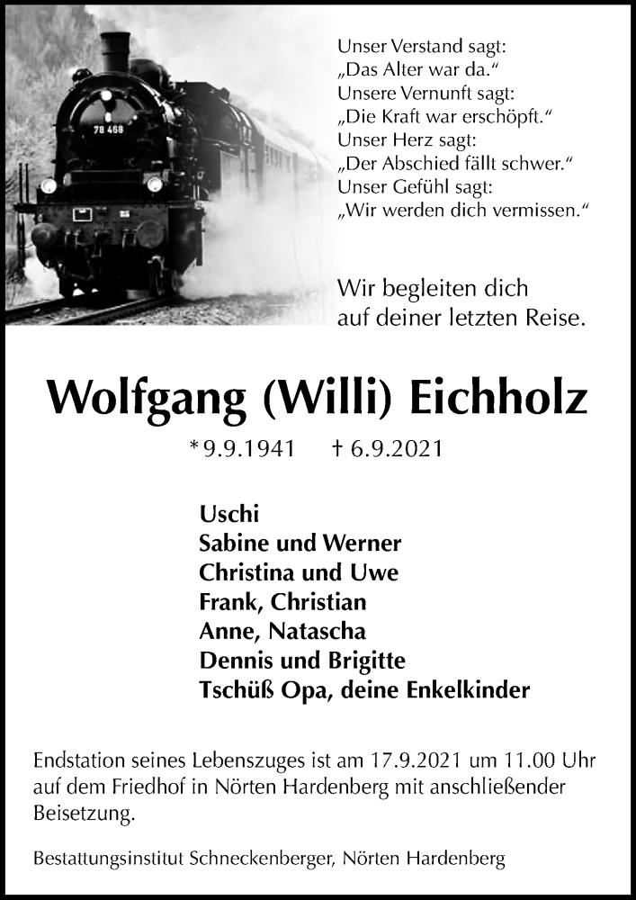 Traueranzeige für Wolfgang Eichholz vom 11.09.2021 aus Göttinger Tageblatt