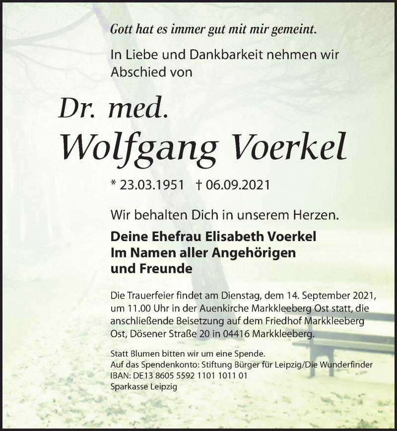 Traueranzeige für Wolfgang Voerkel vom 11.09.2021 aus Leipziger Volkszeitung